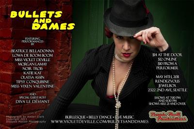 Bullets and Dames. At the Rendezvous Jewelbox Theater, at 2322 2nd Ave, in Seattle on May 14th at 7:00 pm and 8:30 pm.